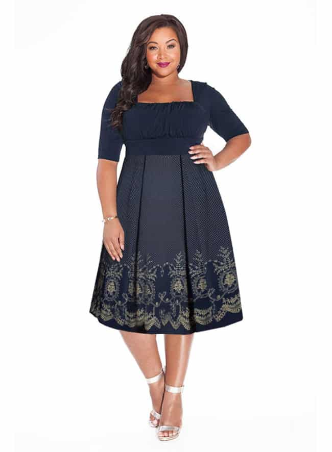 Plus Size Midnight Blue Dress for Wedding