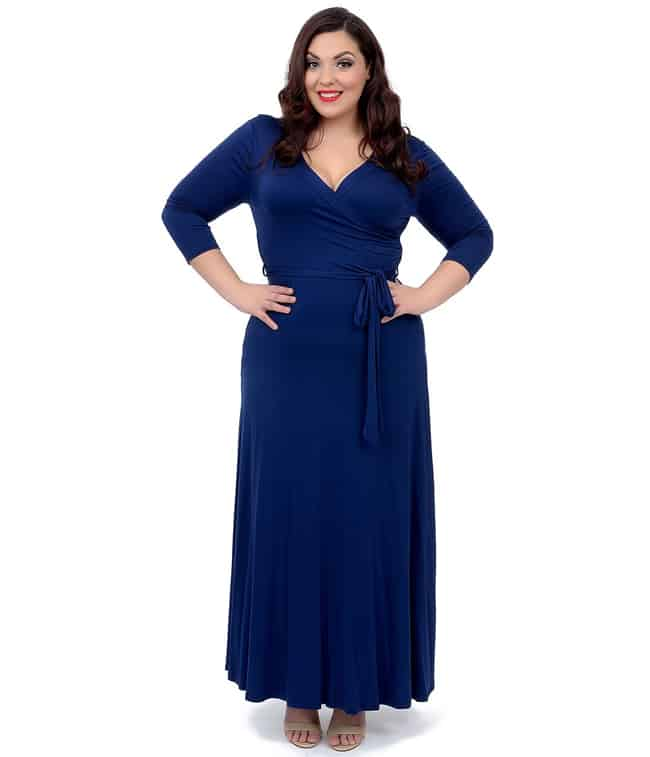 Plus Size Navy Blue Maxi Dress for Women