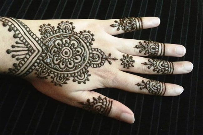 Rangoli Mehndi Designs on Back Hand