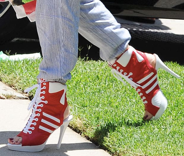 Red and White Heeled Sneakers for Summer