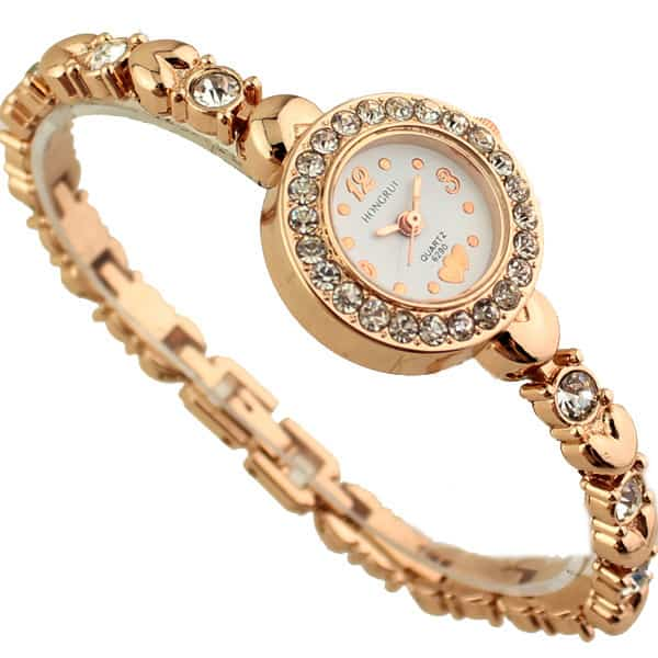 Rhinestone Bracelet Gold Plated Watches