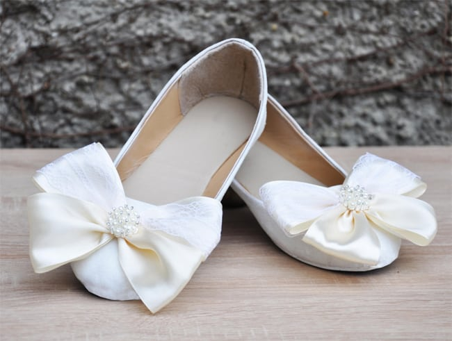 Satin Lace Bow White Flats for Wedding