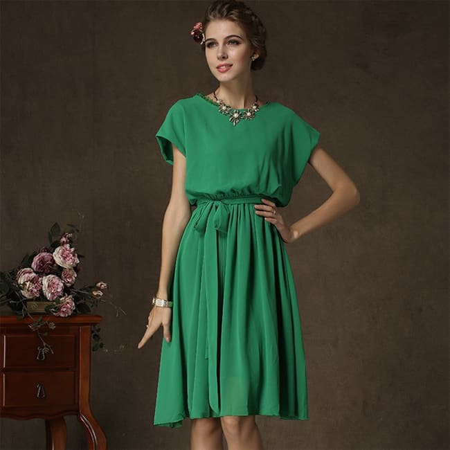 Short Sleeve Green Sundresses for Ladies