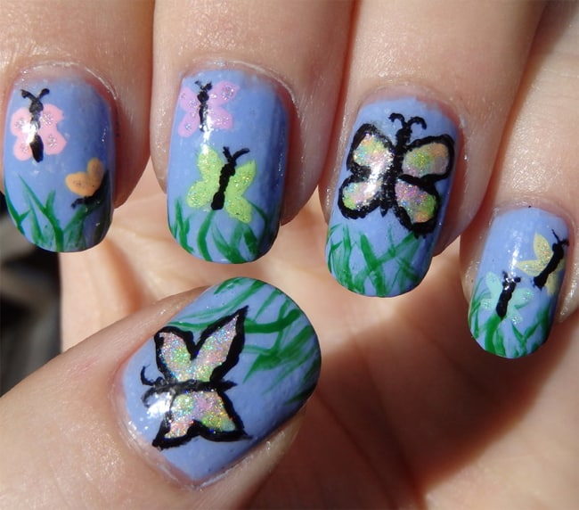 Simple Butterfly Nail Art Ideas 2016