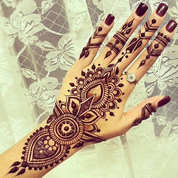 Stylish Back Hand Eid Henna Designs for Girls
