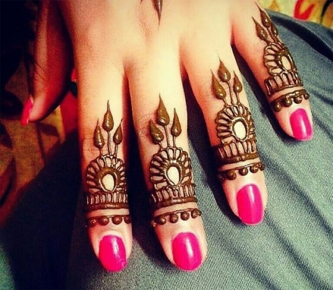 Stylish Finger Henna Designs for Bridal