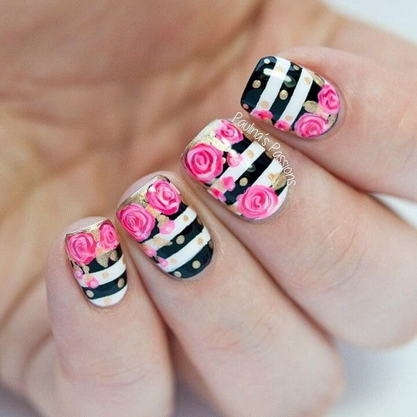 Stylish Flower Designs for Nails 2017
