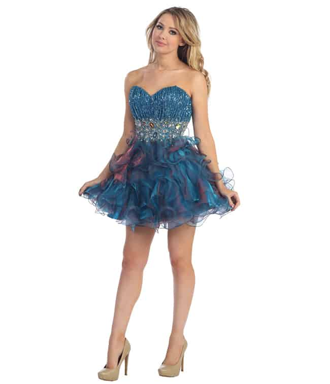 Super Teal Blue Homecoming Dresses