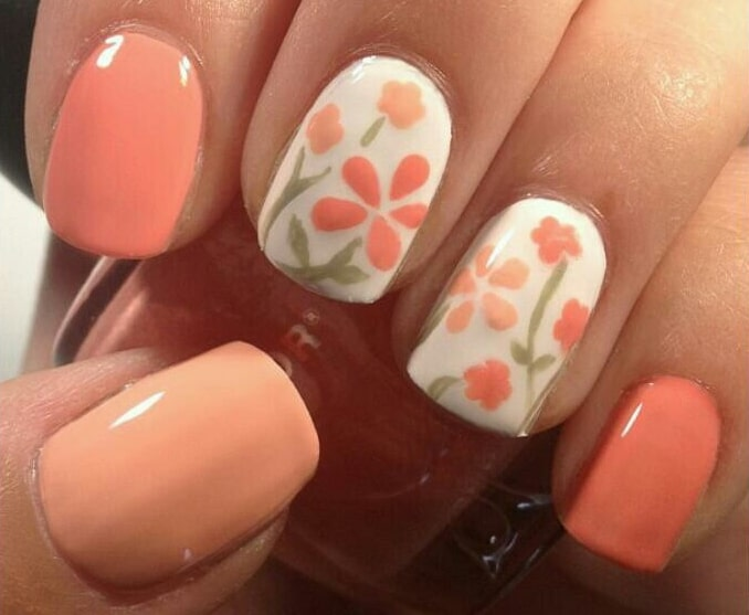 Trendy Flower Nail Art in Orange Color