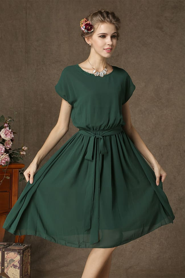 Trendy Pleated Women Chiffon Sun Dresses