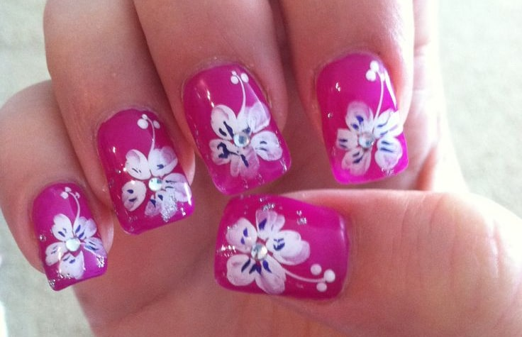 Tropical Flower Nail Design Art for Summer - Tropical Flower Nail Design Art For Summer - SheIdeas