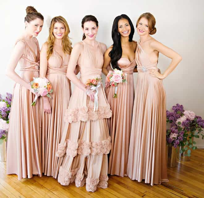 Twobirds Blush Peach Rose Pink Bridesmaid Outfits
