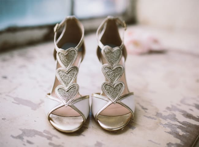 Vintage Heart Shaped Wedding Shoes Ideas