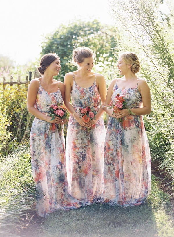 Watercolor Blush Wedding Bridesmaid Dresses