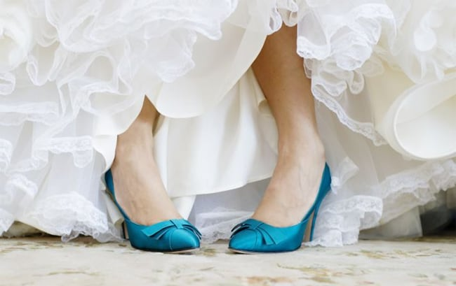 Wedding Blue Satin Shoes With Bridal Gown