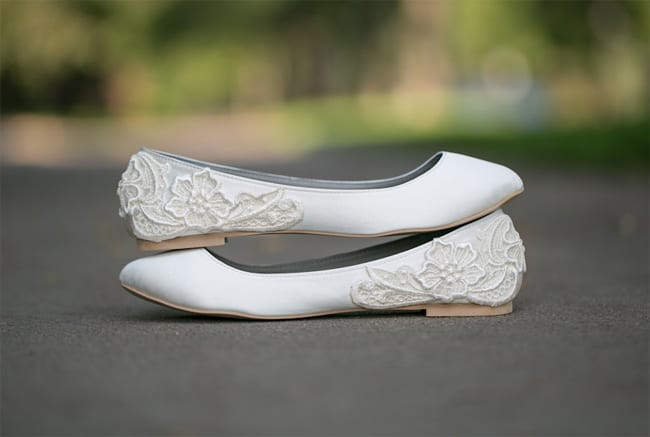 White Flat Wedding Shoes for Brides