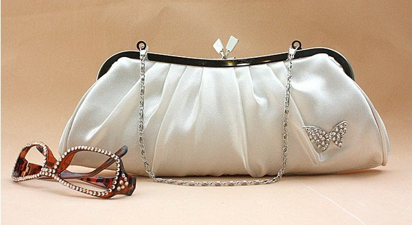 White Satin Evening Handbag for Wedding - wedding handbags