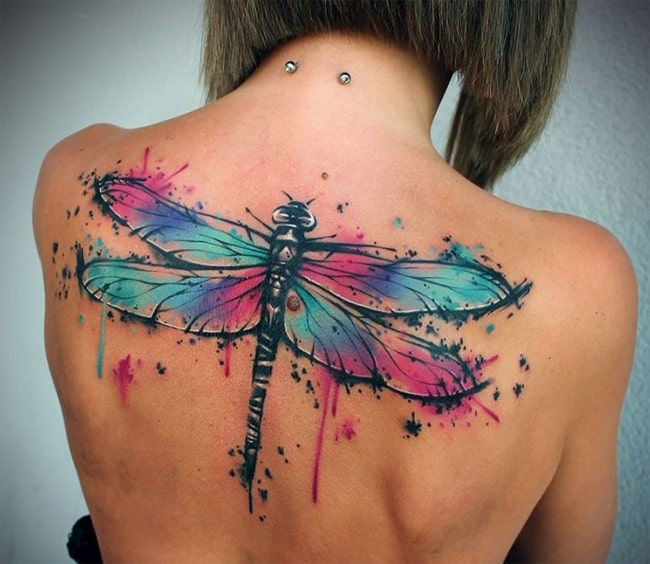 Women Back Dragonfly Tattoo Designs