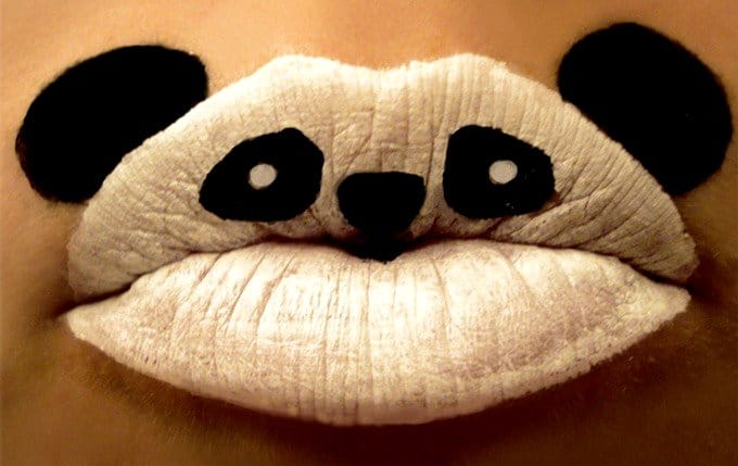 Amazing Teddy Bear Lip Art Design