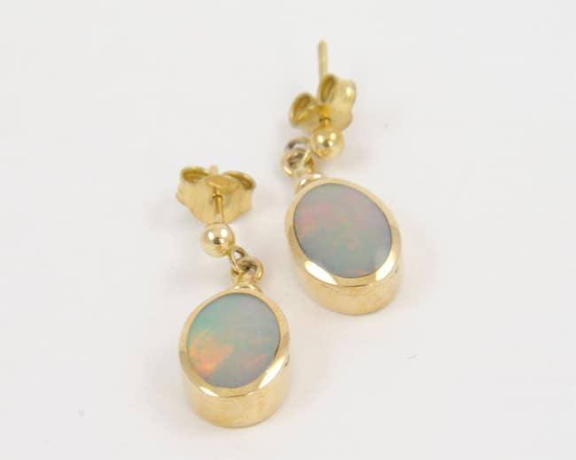 Attractive Drop Opal Golden Earrings for Wedding