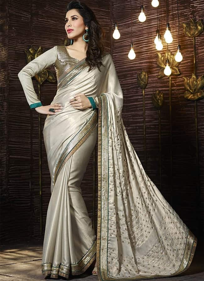 Awesome Cream Satin Chiffon Party Sarees