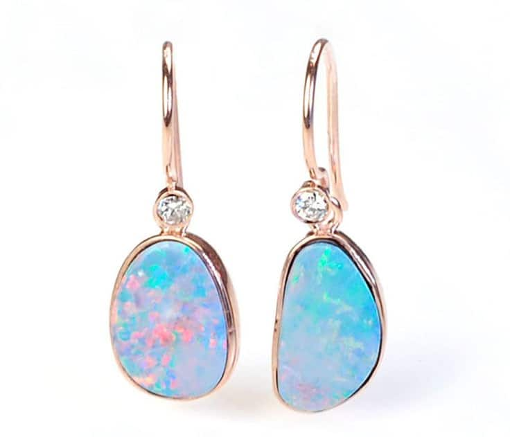 Awesome Opal Diamond Earrings