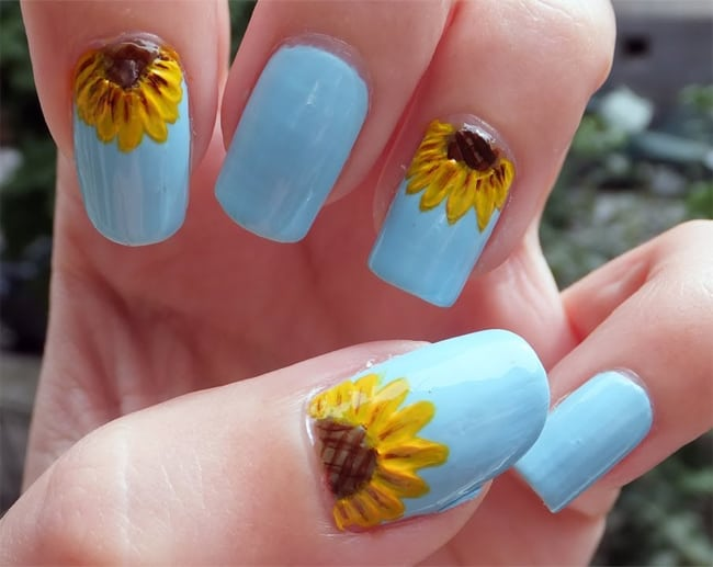 Awesome Sunflower Nail Art Designs 2018
