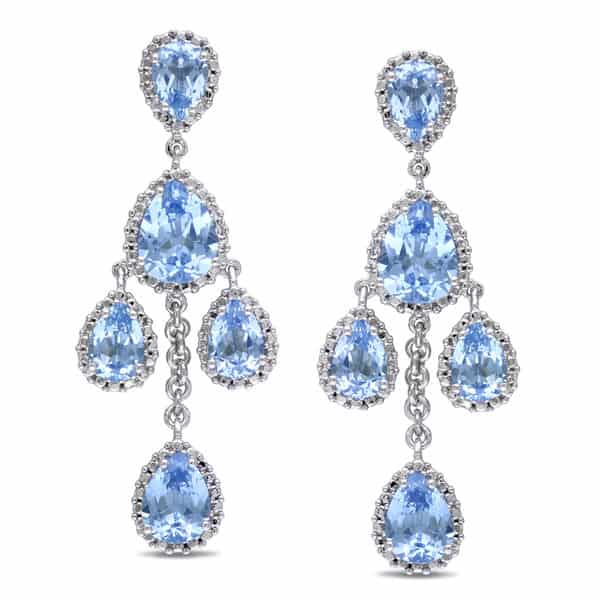 Beautiful Aquamarine Chandelier Earrings for Engagement