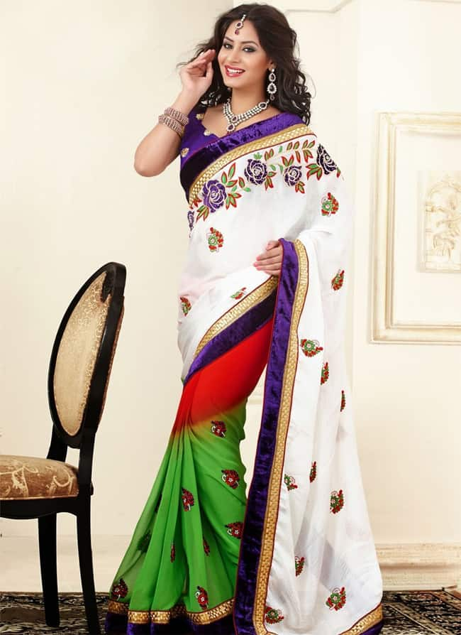 Beautiful Colorful Resham Sarees for Wedding Party
