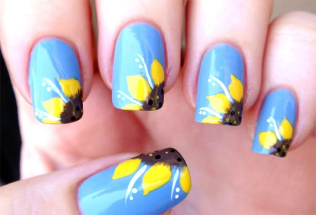 Beautiful Sunflower Nail Designs for Ladies