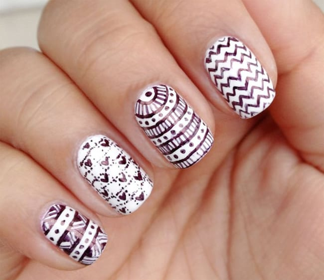 Best White Nail Patterns Ideas With Stripes