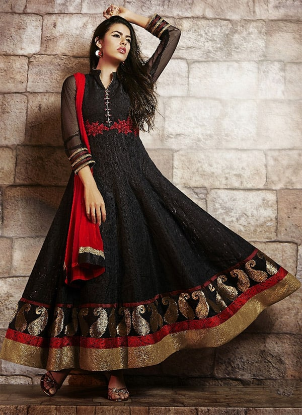 Black Art Silk Designer Anarkali Outfits for Women