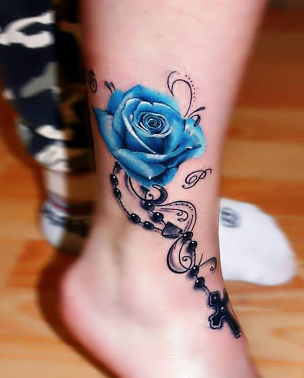 Blue Rose Foot Bracelet Tattoo Designs for Girls