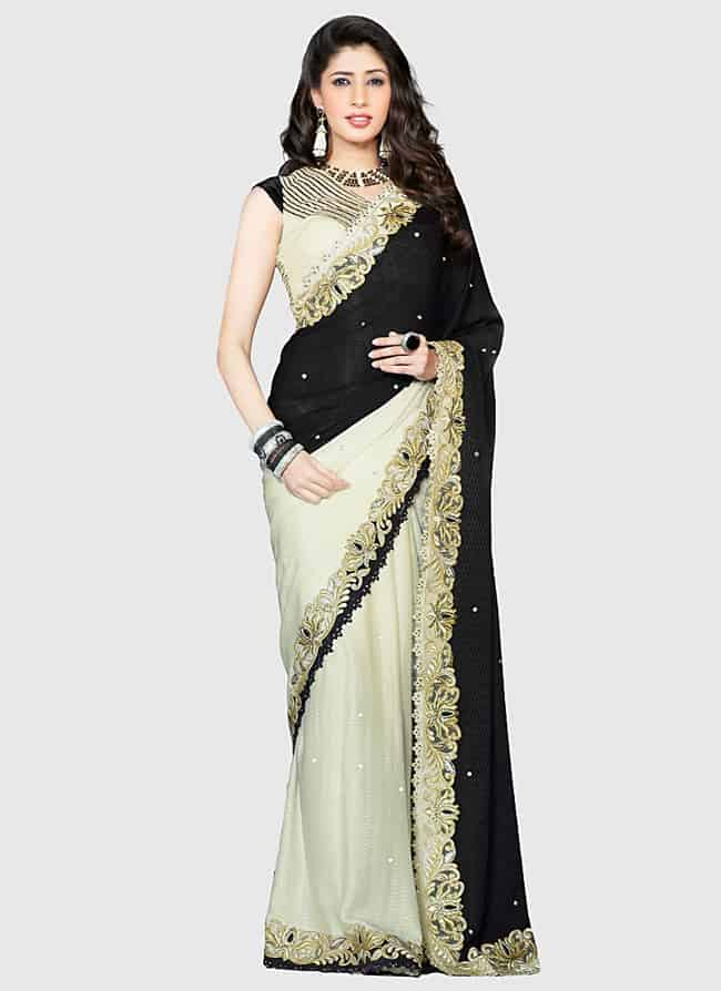 Cool Alluring Cream and Black Party Sarees for 2018