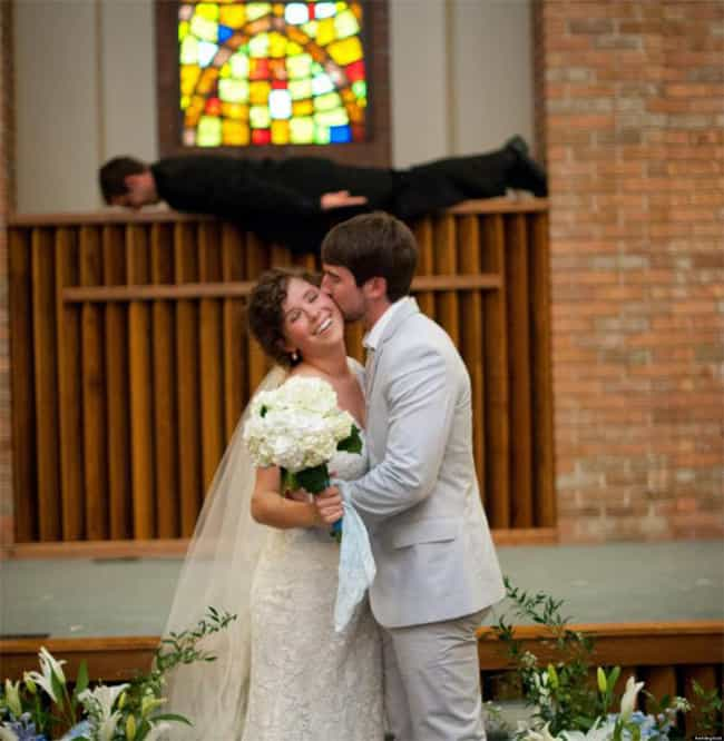 Couple Kissing Fun Wedding Photos