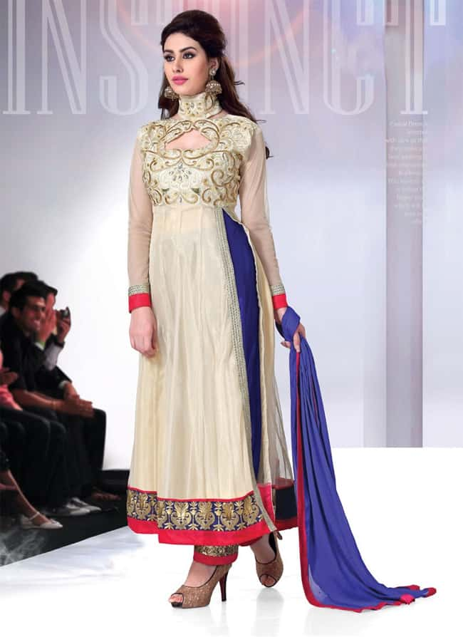 Cream and Blue Designer Anarkali Dresses 2016