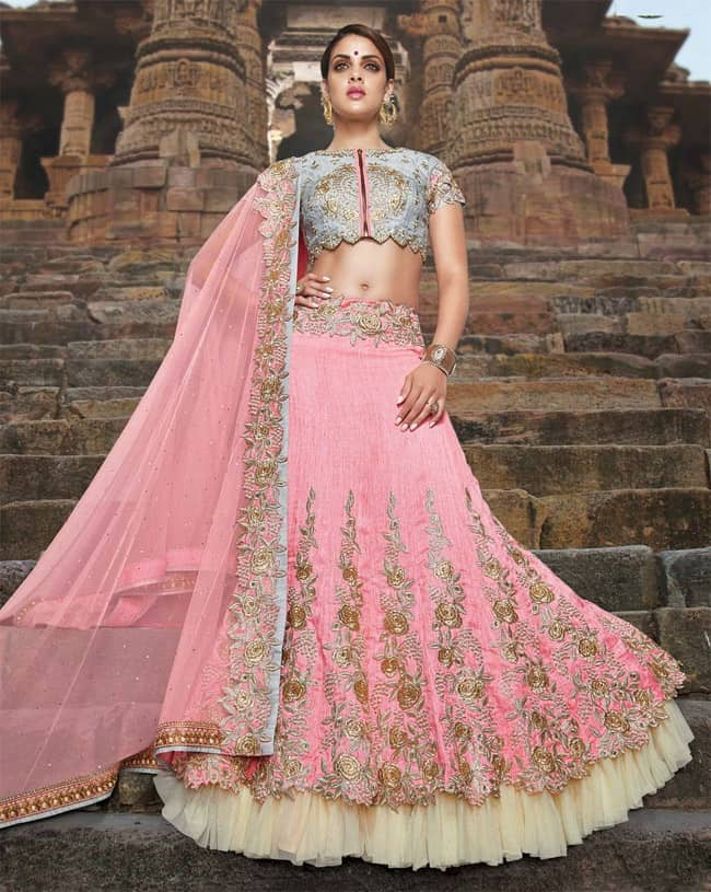 Designer Wedding Floral Lehenga Choli Images