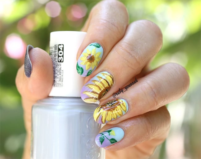 Easy Sunflower Nail Art 2016-17