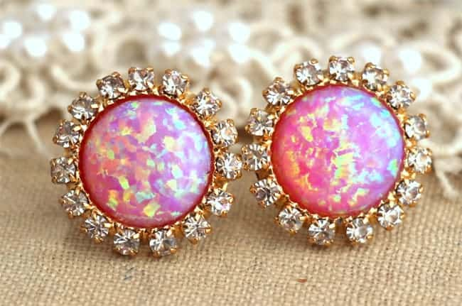Elegant Opal Stud Earrings for Ladies