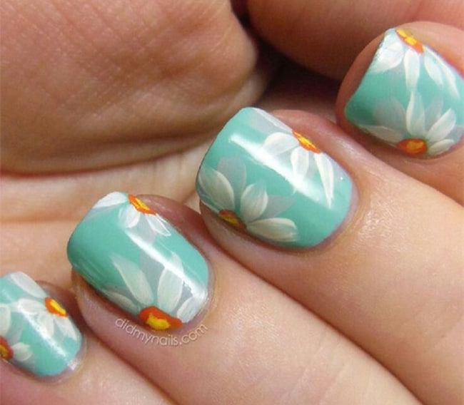 Elegant Sunflower Pastel Nail Art Ideas