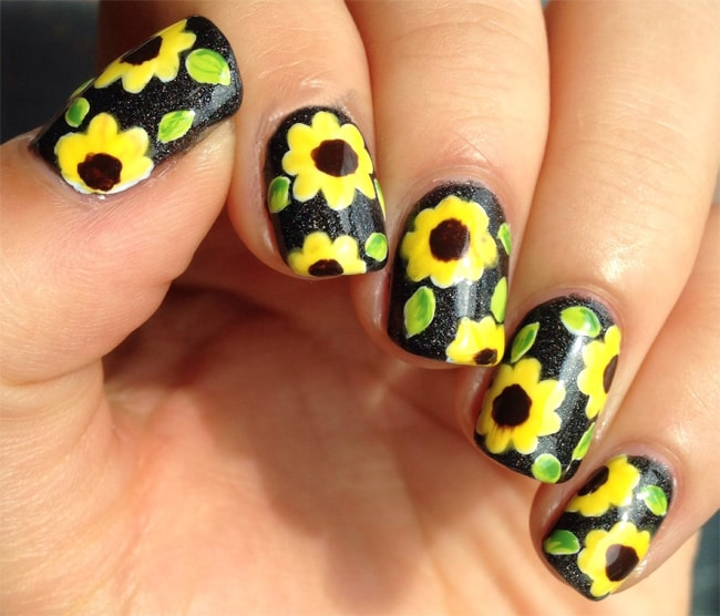 Excellent Sunflower Nails Nail Art Pictures