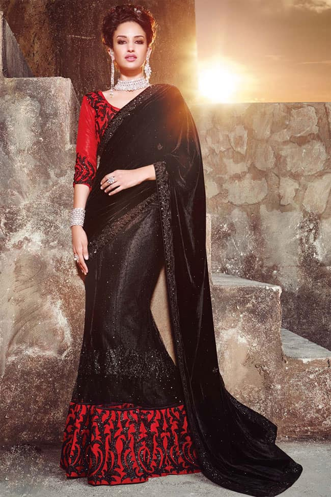 Fancy 2016 Party Wear Saree in Black and Red