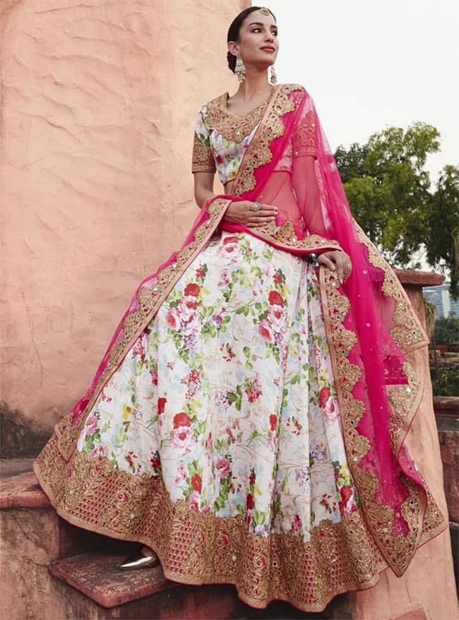 Floral Printed Designer Lehenga Choli for Brides