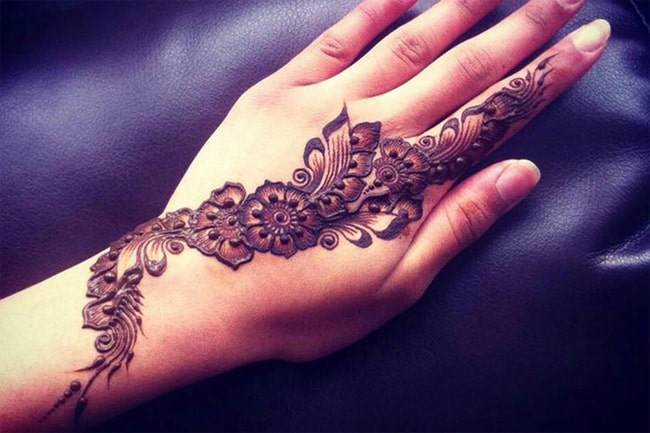 Floral Vine Bridal Mehndi Art on Hand 2017