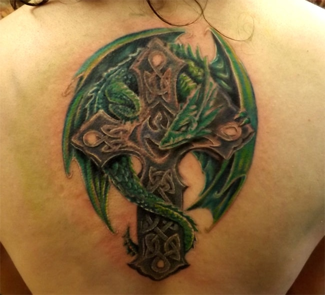 Fresh Dragon and Celtic Cross Tattoo Ideas