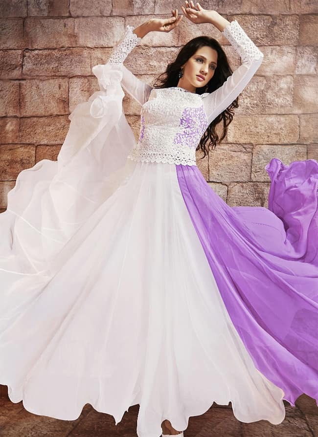 Gambling Off White Faux Georgette Anarkali Wedding Dress