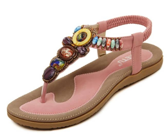 Girls Casual Beaded Beach Shoes Designs 2016