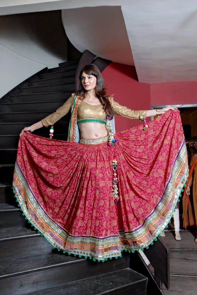 Golden Shimmer Blouse With floral lehenga choli designs