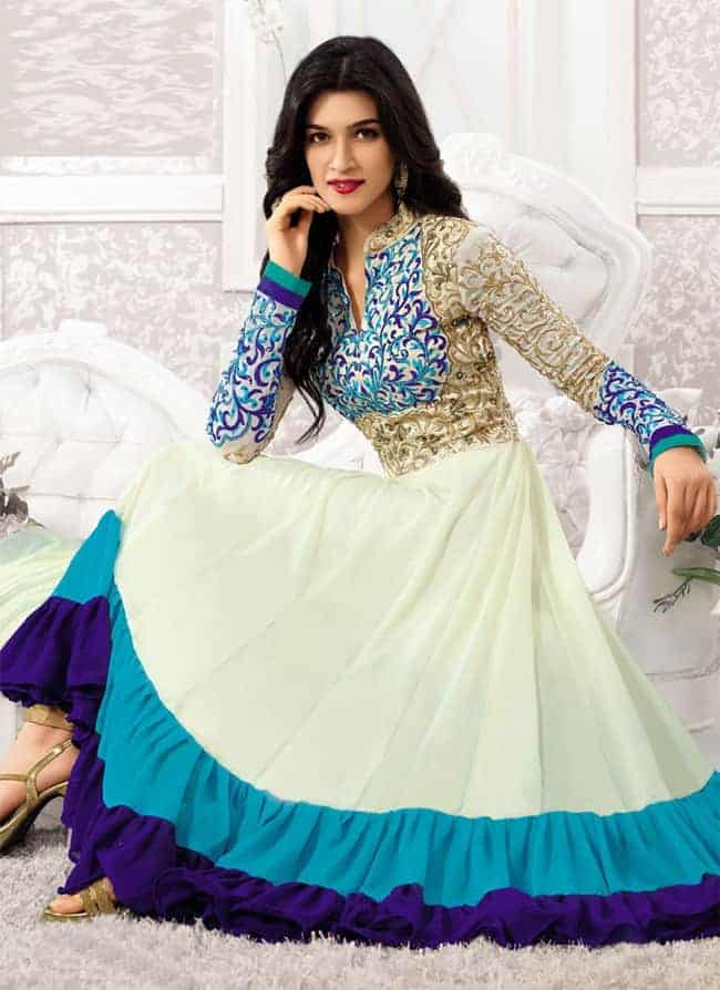 Graceful White Long Designer Anarkali Dresses