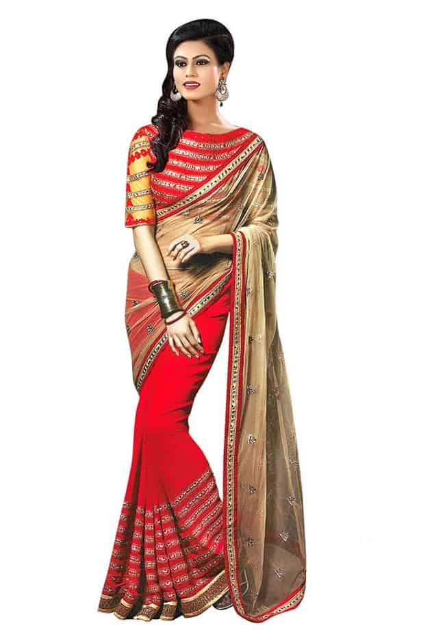 Great Net and Georgette Party Wear Saree Dress